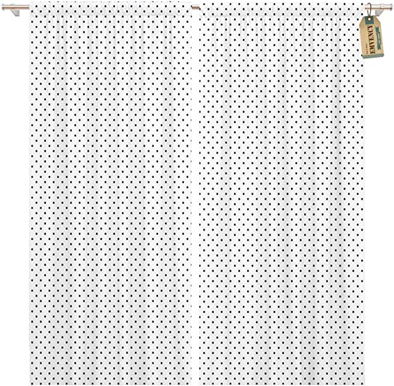 Golee Window Curtain Dot Fine Dotted Black and White Pattern Mesh Polka Home Decor Pocket Drapes 2 Panels Curtain 104 x 96 inche