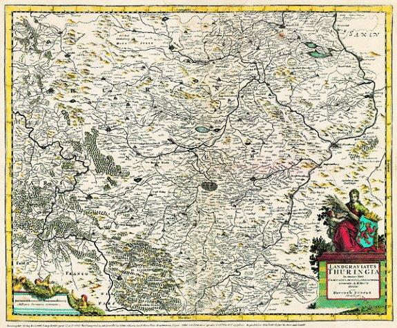 Historische Karte: Land Thüringen 1690: Landgraviatus Thuringia. In omnes suos Comitatus. (Plano)