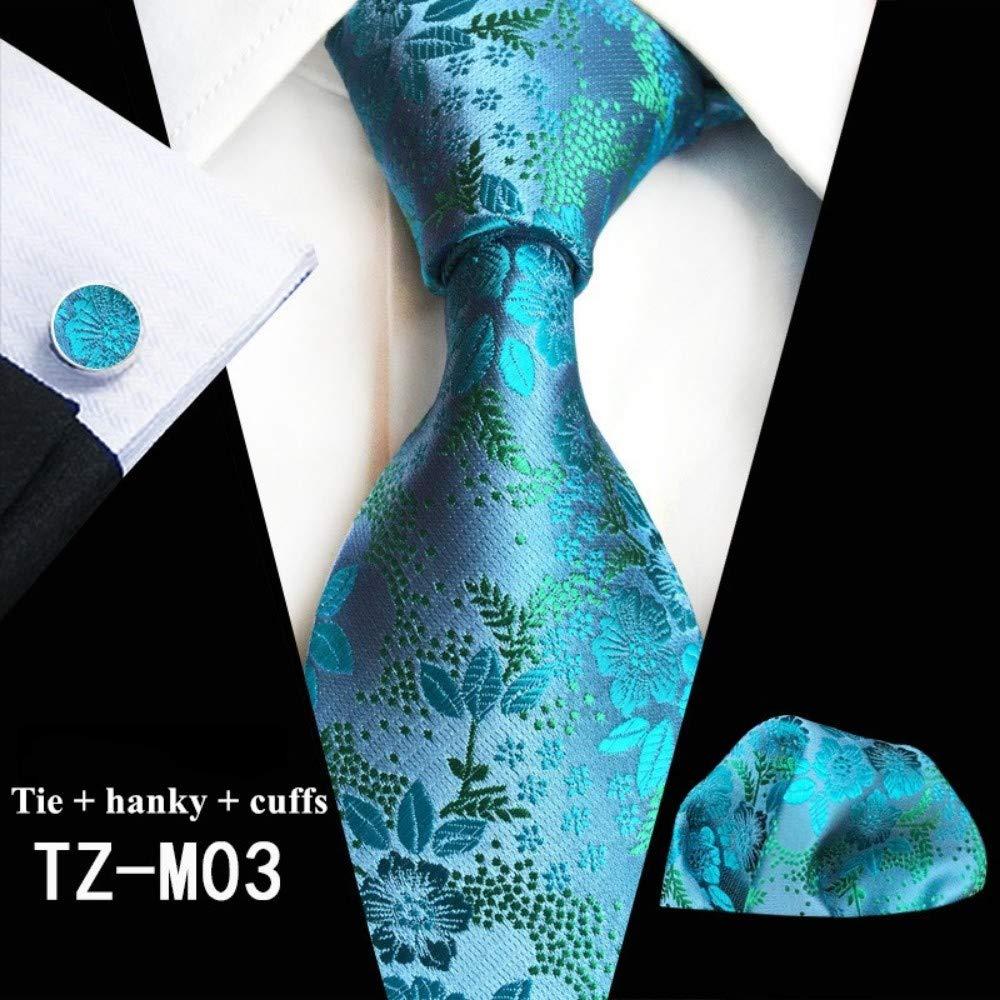FAHFO Corbatas Corbatas De Seda con Estampado Floral para Hombres De Negocios Conjunto De Corbata para Hombre Corbatas De Color Verde Oscuro Bolsillo Cuadrado con Corbata