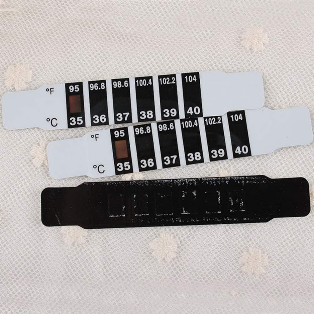 Tomaibaby 12 St/ück Wiederverwendbarer Thermometerstreifen Zur Kontrolle Temperaturthermometer des Stirnthermometers Farbwechsel-Thermometeraufkleber