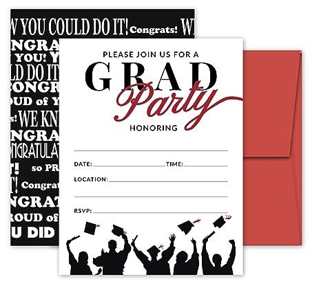 25 Invitaciones De Fiesta De Graduación Rojas Y Negras Con