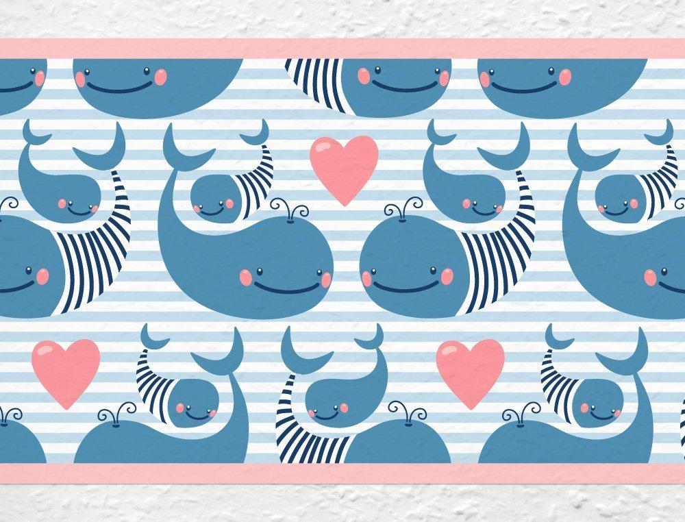 I-love-Wandtattoo b-10032 Nursery Wall Decal Border Sweet whales Childs Room Sticker Boy Girl Baby