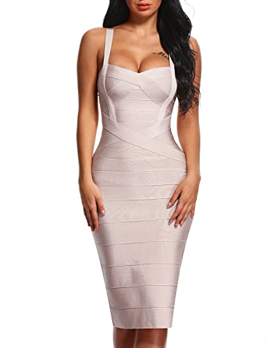 Bqueen Women's Bandage Dress Spaghetti Strap Midi Bodycon Party Dresses BQ1139-1