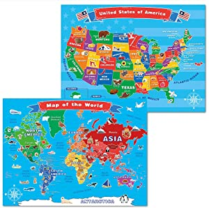World Map and United States Map for Kids,Wall Maps of US and World, 18 x 24inch Laminated World and United States US Maps Posters for Learning, Classroom, Education, Back to School Resources