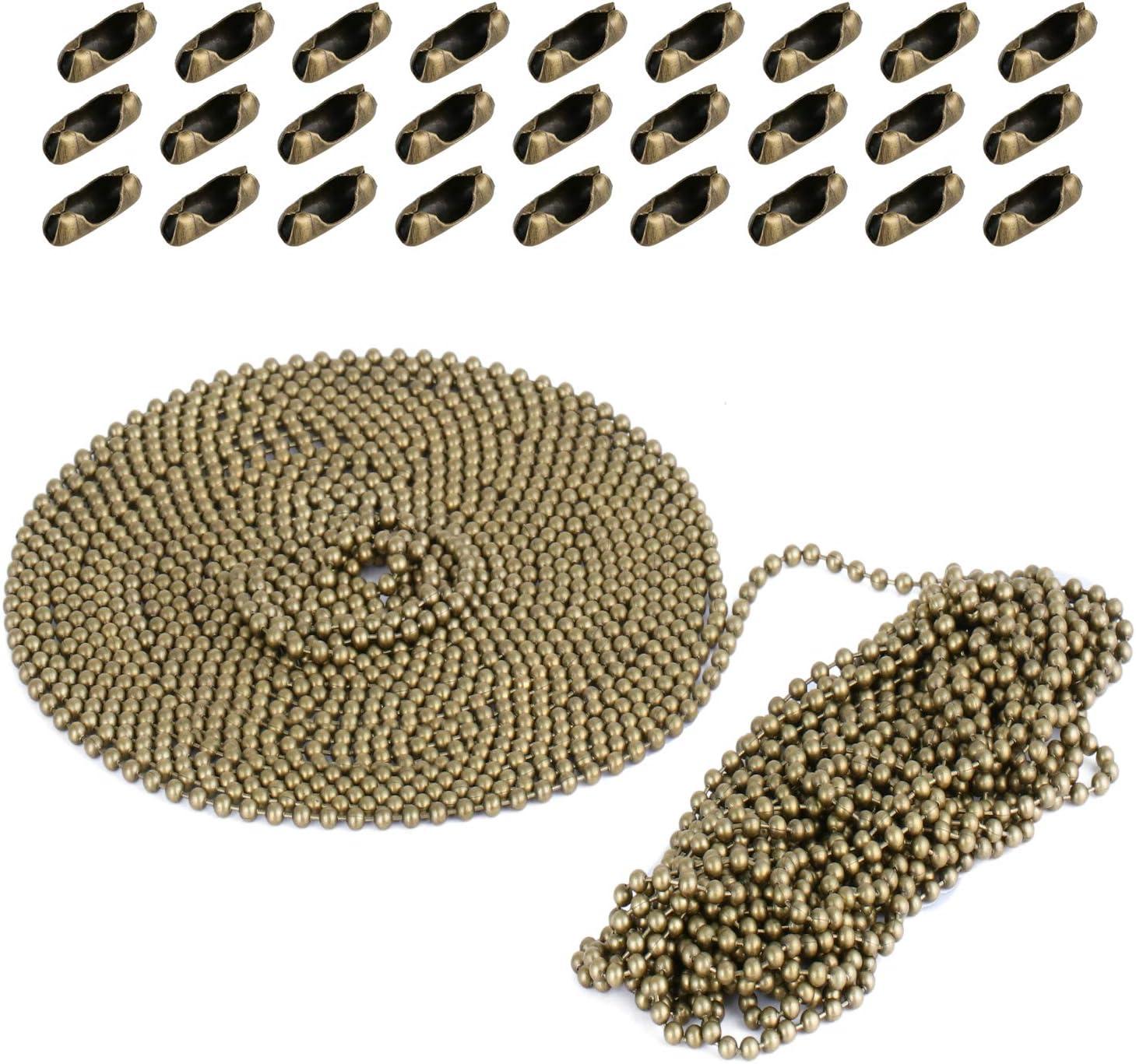 Coolt Y Extensión de cadena con cuentas de 10 m con conector, cadena de rodillos con cuentas con 30 conectores a juego para ventilador de techo o luz cada uno (32 pies, 3,2 mm de diámetro, bronce)