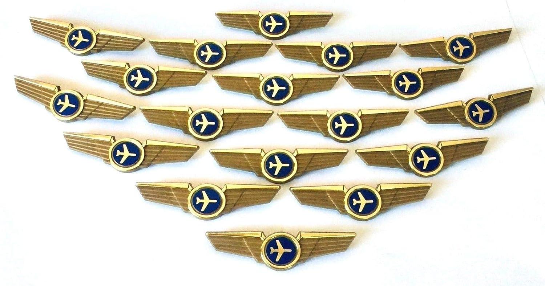Aviator Kids Airplane Pilot Wings Plastic Pins Pinbacks Badges Lot of 20  Pins Gold