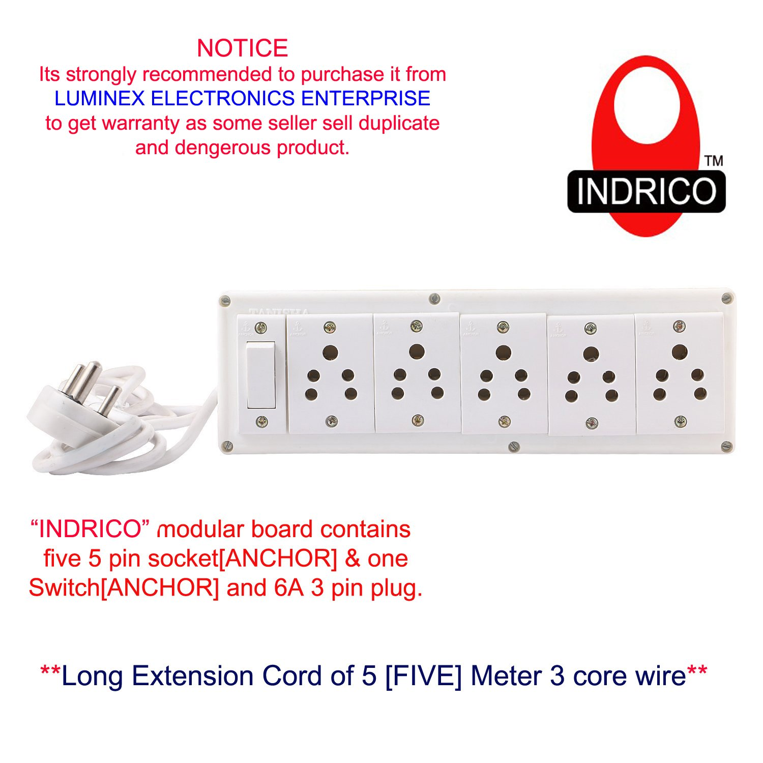 Buy Indrico Extension Electric Switch Board Wire With 5 Anchor Electronic Wiring Socket 6a And One 3 Pin Plug Meter Cord Online At Low