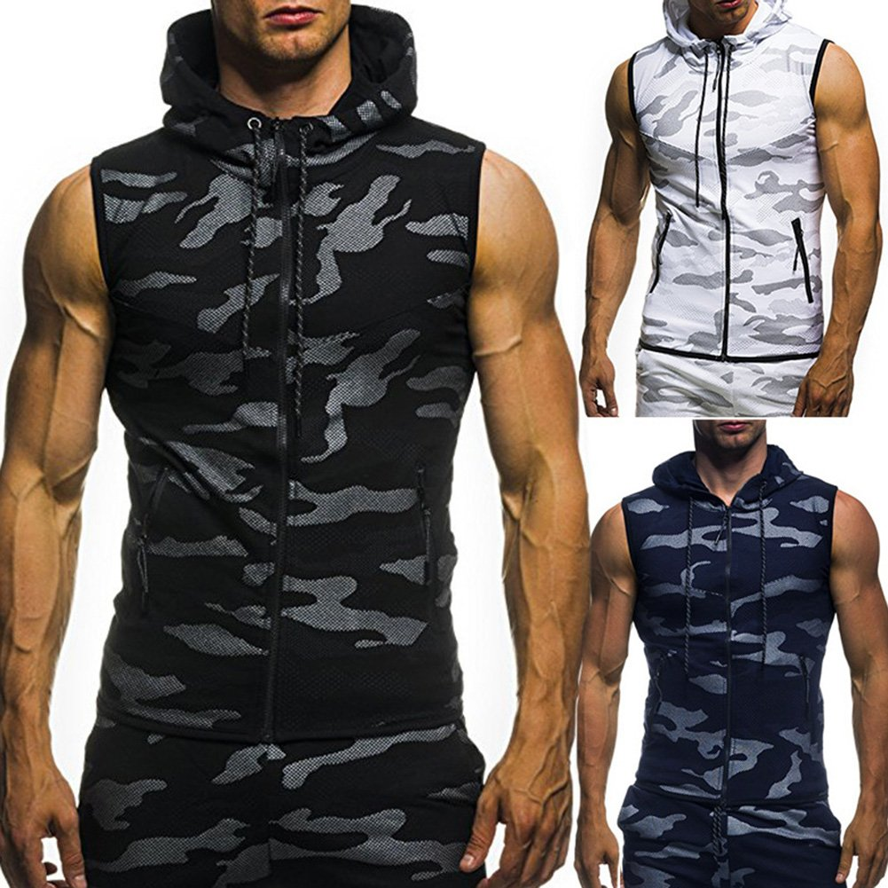 Amazon.com: MeterMall Unique Style Mens Camouflage Printed Drawstring Zipper Slim Fit Sleeveless Hoodie Black 2XL: Clothing