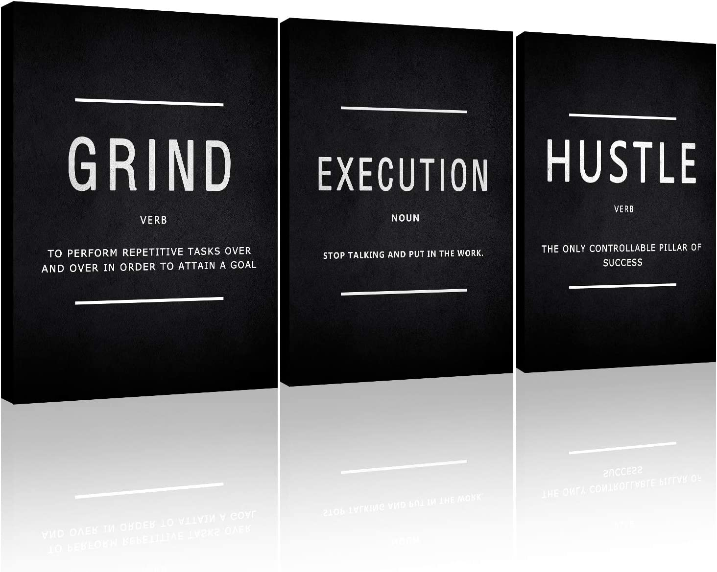 Motivational Canvas Wall Art, Grind Hustle Execution Office Wall Decor Framed Inspirational Prints Quotes for Office Wall Art Gallery-Wrapped Canvas Art 3 Piece
