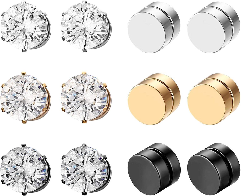 Aroncent Pendientes para Orejas sin Agujero Unisex Aretes de Magnéticos Imán de Acero Inoxidable con Diamantes Imitados Brillantes Aretes Sólido Clásico 6 Pares 12 Pcs Conjuntos Negro Dorado Plateado