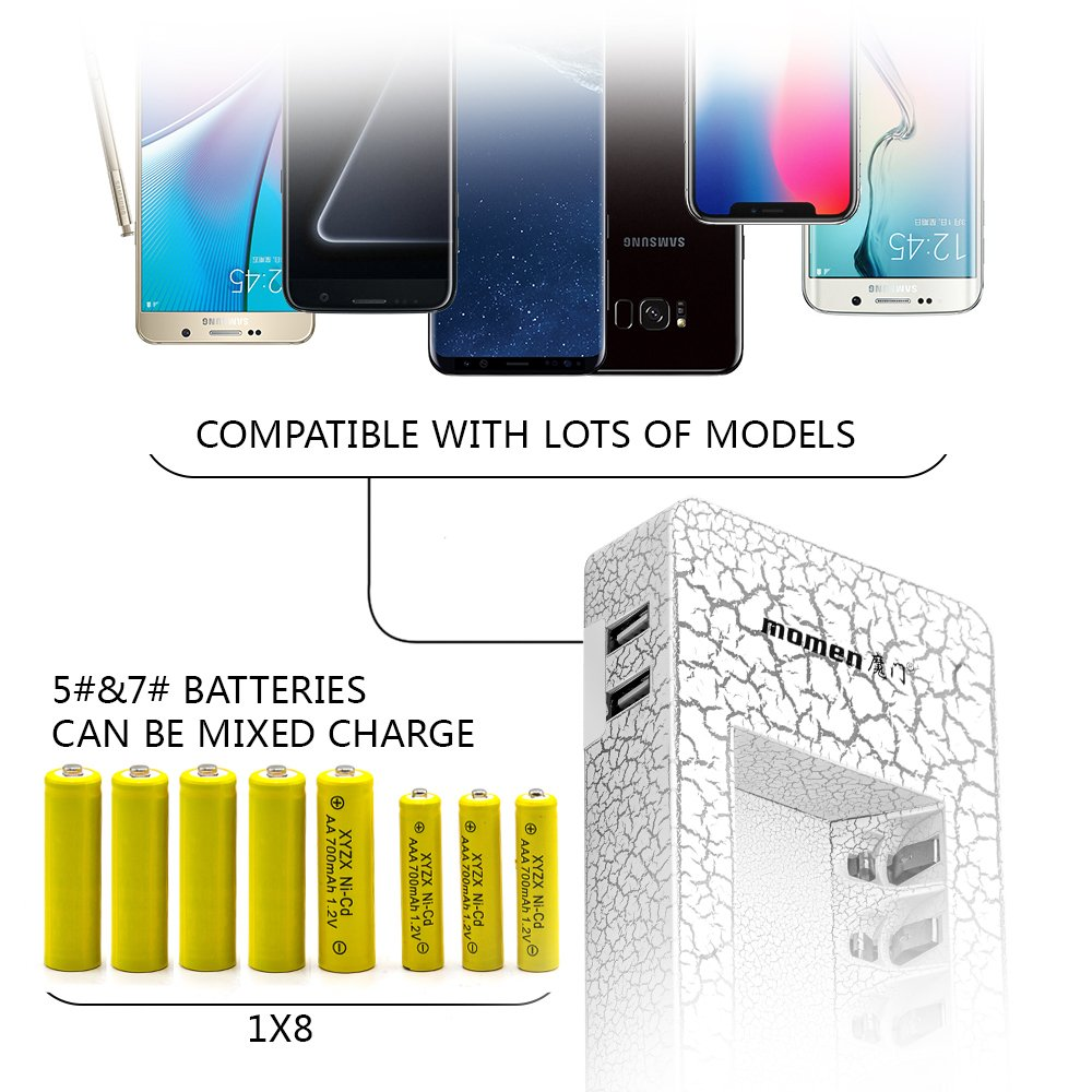 Amazon.com: 8 bay AA AAA Rechargeable Battery Charger LED Light with Dual  USB Port- NiMh NiCd Rechargeable Batteries Smart Battery Charger Station  for ...