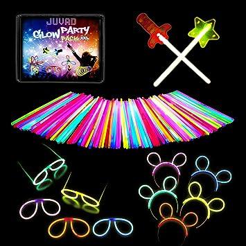 JUVAD 150 Bracelets Fluo et Accessoires  Lunettes, Épée, Baguette et Bâton  Fluorescent Lumineux , Glow Party Pack