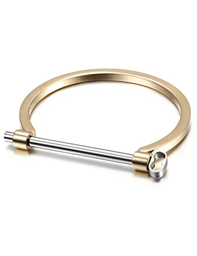 Amazoncom GoldRose Gold Plated Stainless Steel Bar Screw Cuff