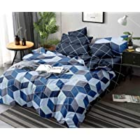 Linen Studio Beautiful Glace Cotton AC Comforter King Size Bed Comforter, Double Bed Sheet, 2 Pillow Cover (Blue, 90x100 Inches) - Set of 4 Pieces