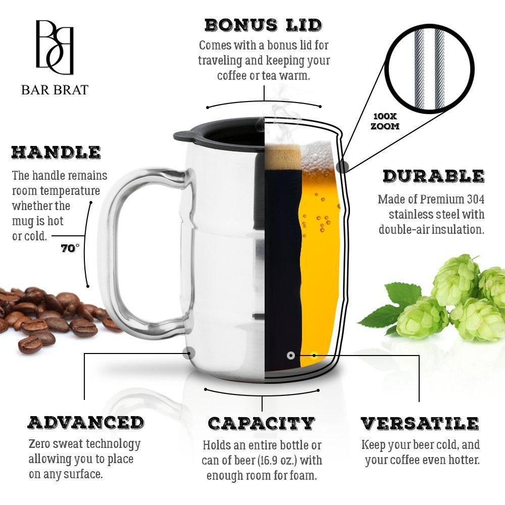 Lid german beer mug hinged lid gaming computer desk ideas - Amazon Com Insulated Coffee Mug Beer Mug By Bar Brat 16 9 Oz By Bar Brat Forget Glass Bonus Lid Included Perfect Gift For Men 110 Cocktail
