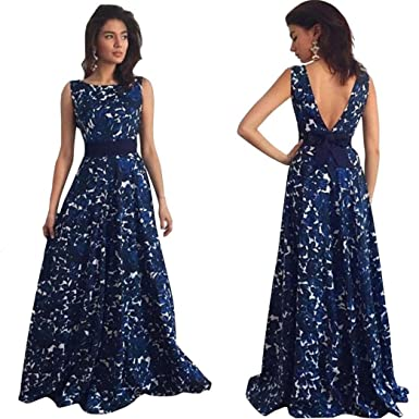 Vuuca Women Floral Long Formal Prom Halo Back Dress Party Ball Gown Evening Wedding Dress (
