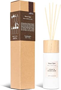 Home Lights Reed Diffuser Gift Set, Wooden Lid, Natural Scented Long Lasting Guaiac Sandalwood Fragrance Oil for Home Office Gift Idea, Aromatherapy Air Freshener and Stress Relief, 200ml/6.76 fl.oz