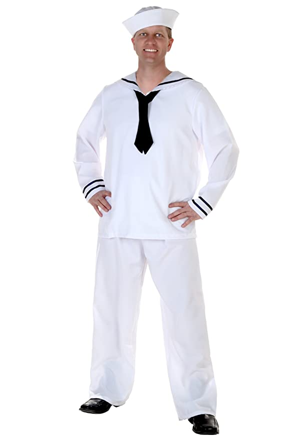 1940s Men's Costumes: WW2, Sailor, Zoot Suits, Gangsters, Detective Mens White Sailor Costume $44.31 AT vintagedancer.com
