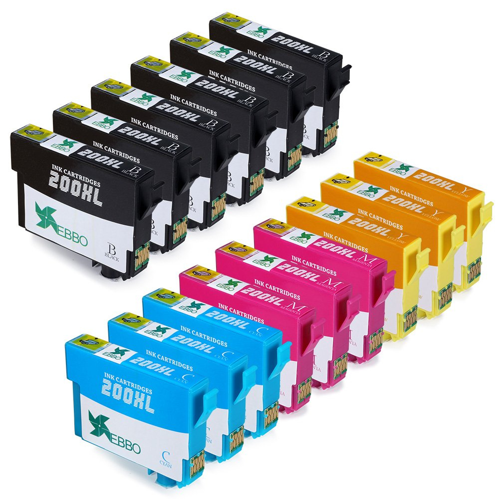 EBBO 15-Pack 200XL Remanufactured Ink Cartridge Replacement for Epson 200 ink, Compatible with WF-2010F WF-2010W WF-2510WF XP-400 WF-2530 WF-2520 WF-2540 XP-300 XP-200 XP-410 XP-310 printer