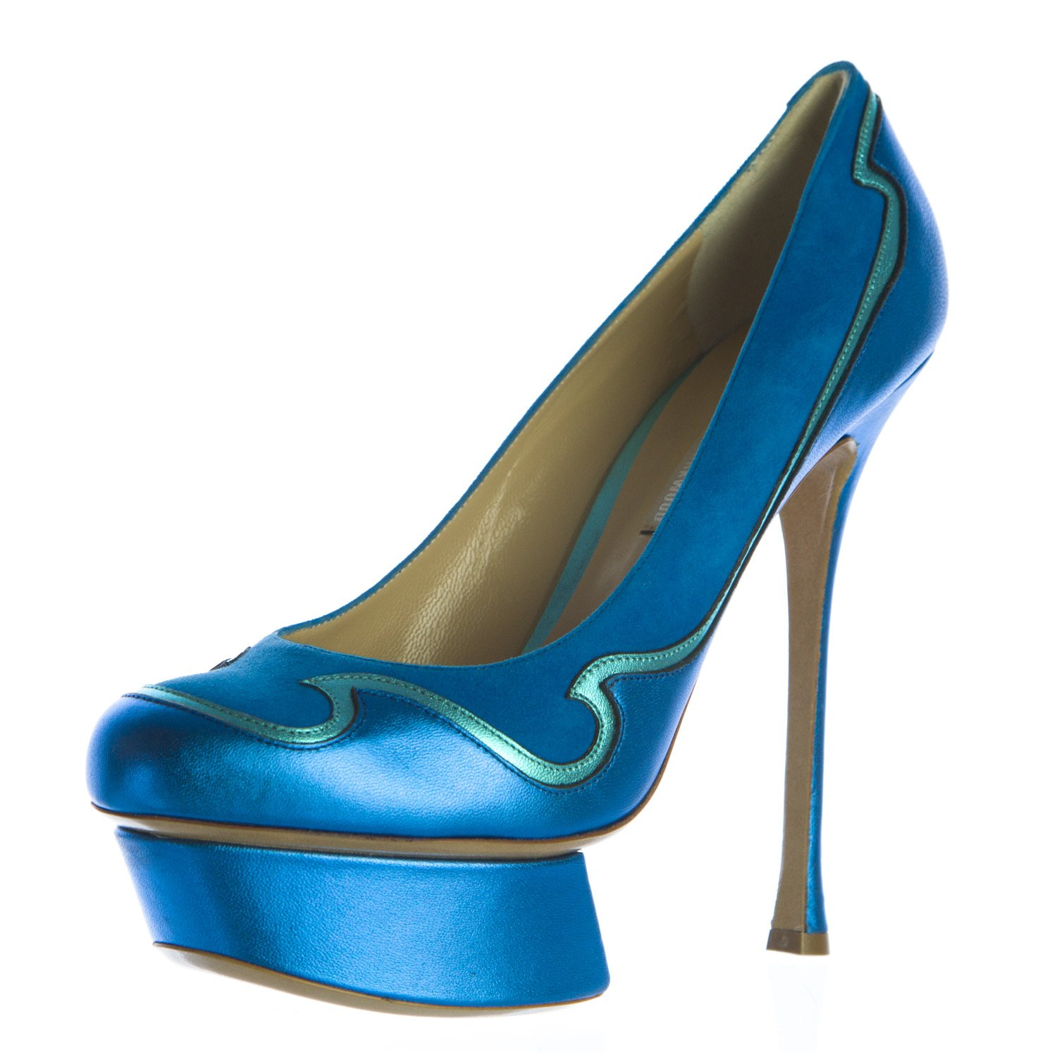 Nicholas Kirkwood Leather Platform Pumps 11 Ocean Blue