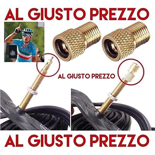 2 adaptateurs universels de soupape - de PRESTA à SCHRADER pour les vélos de course et de vélo de montagne - gonflables avec compresseur ou pompe à pied - Fabriqué en Italie - AlGiustoPrezzo