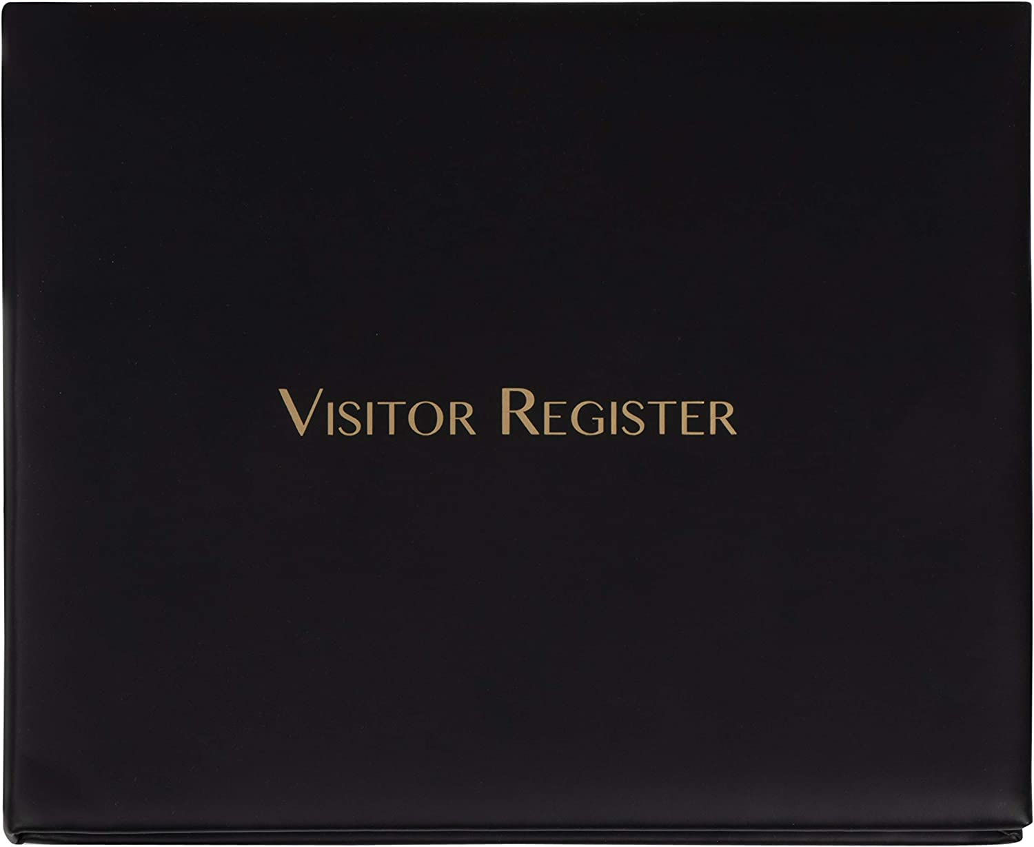 Juvale Visitor Register Sign in Log Book, Black, 9 x 7.3 x 0.75 Inches, 80 Sheets