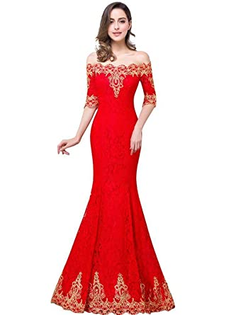 Misshow Womens Full Lace Mermaid Prom Dress With Gold Embroidery - Red - 6