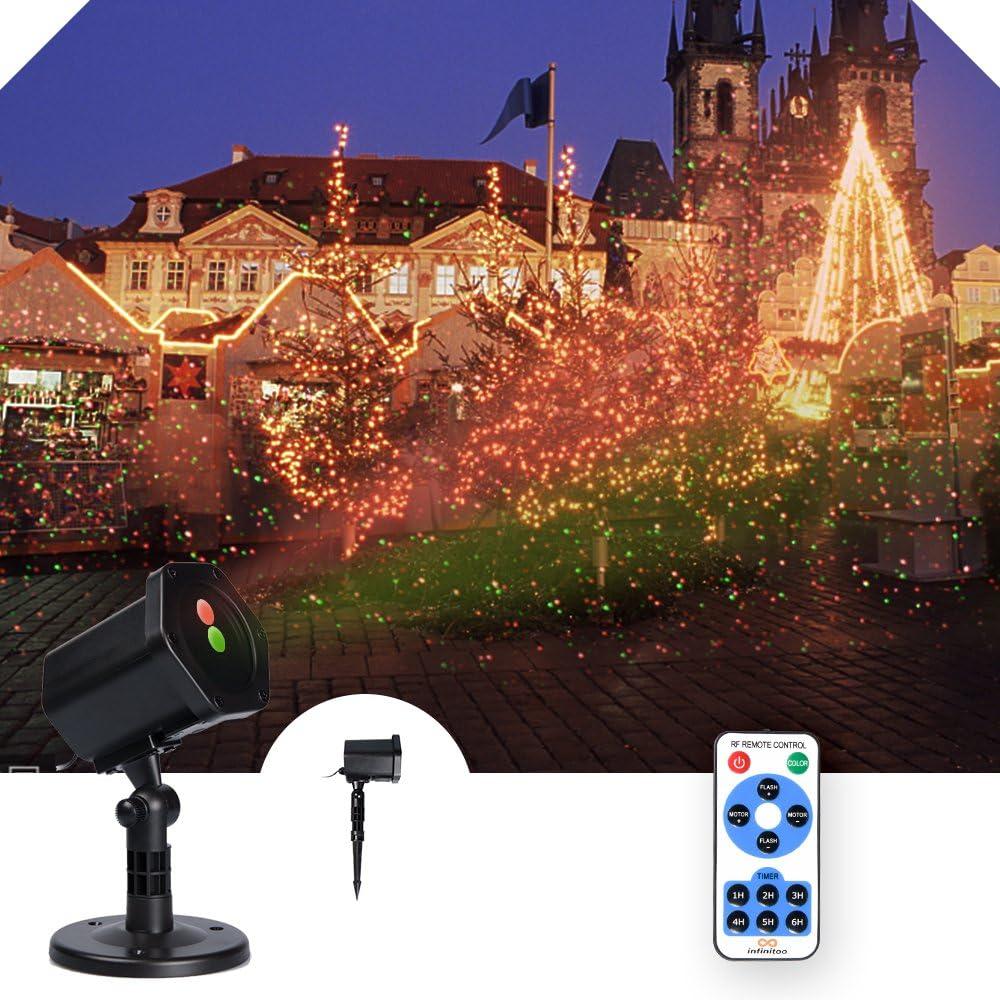Weihnachten Projektorlampe Holloween Projektion Lichter Sternen Sternenklare Lichter rot und gr/ün Garten Innen im Freien Wasserdichte RF Fernbedienung