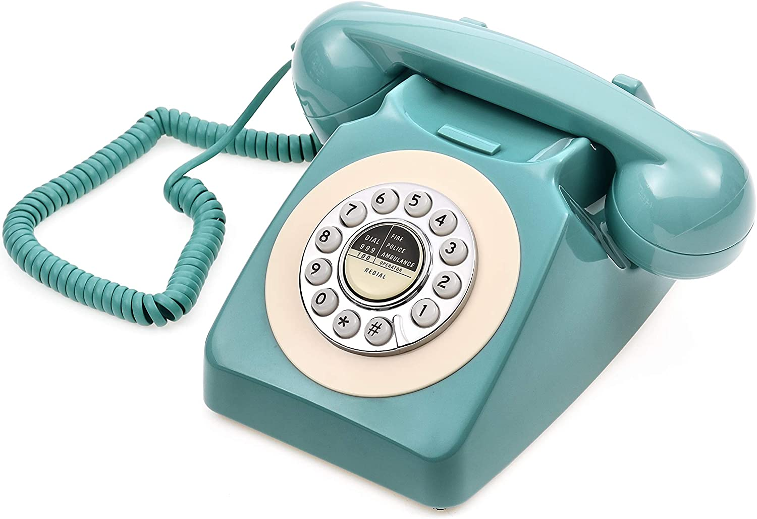 Retro Telephone, CALLANY 80's Classic Telephone/Landline Phone/Wired Telephone for Home/Hotel, Fresh Blue