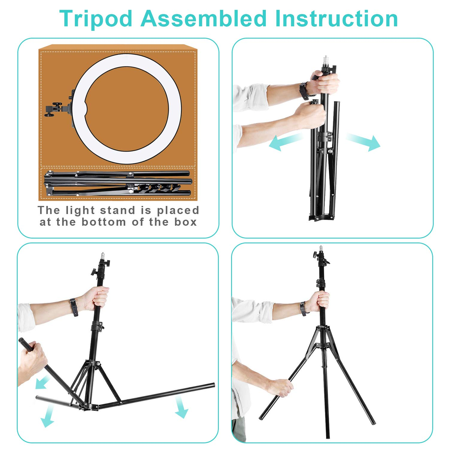 Ring Light Kit 18'' 48cm Outer 55W 5500K Dimmable Led Light Ring with Tripod Stand & Carrying Bag for Camera, Smartphone,Make-Up,YouTube,Portrait Shooting,Live Stream etc by PIXEL (Image #7)