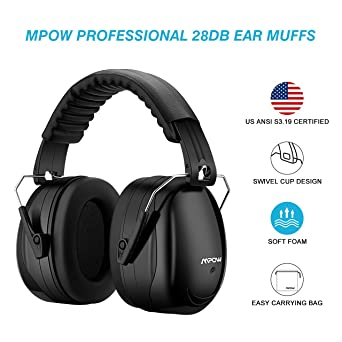 Mpow Folding Ear Defenders Muff SNR 34dB Protector Hearing Safety Shooting Light