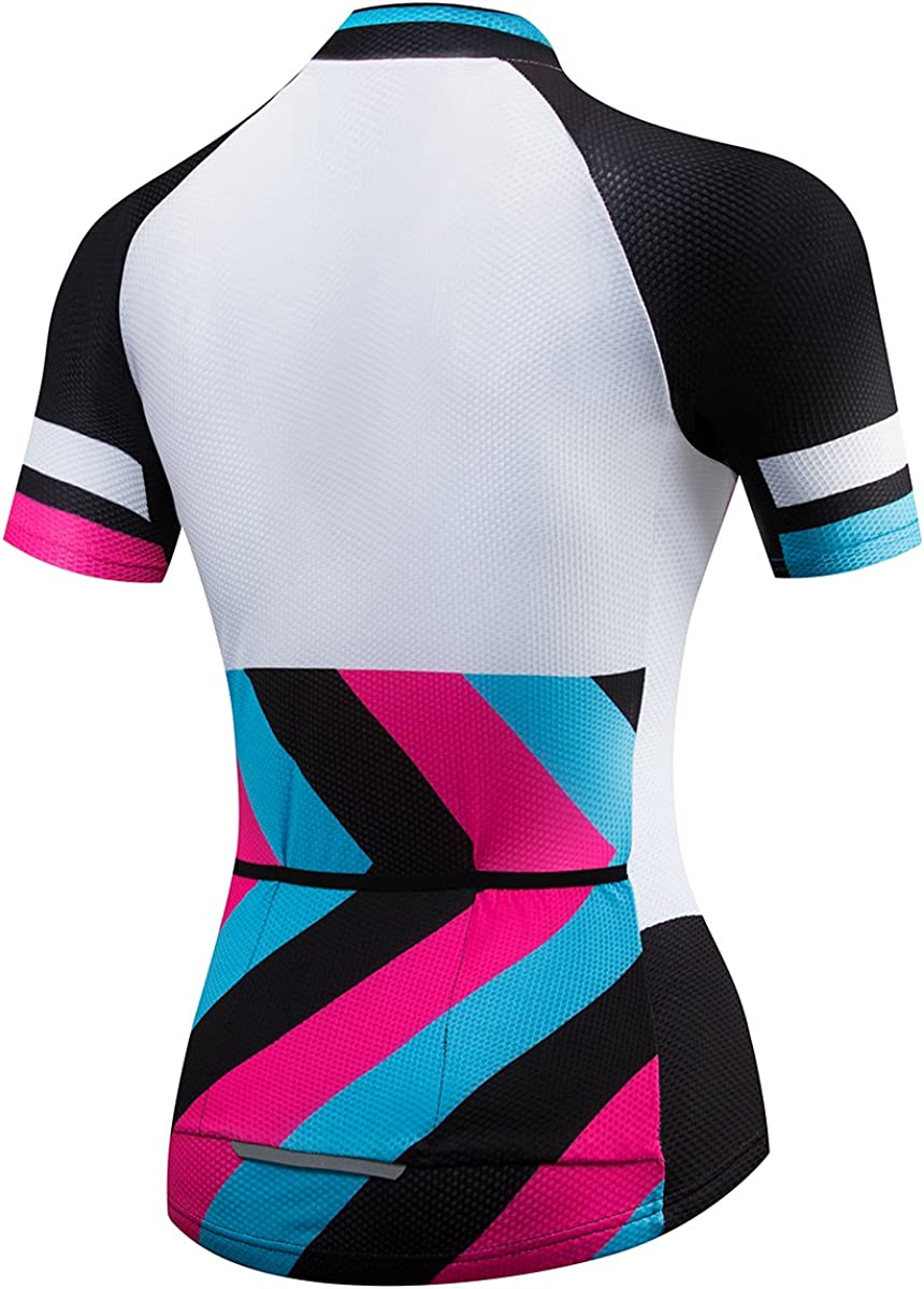 Lo.gas Womens Cycling Jersey Short Sleeves Slim Fit Bike Shirt Zigzag Prints Rose//Red