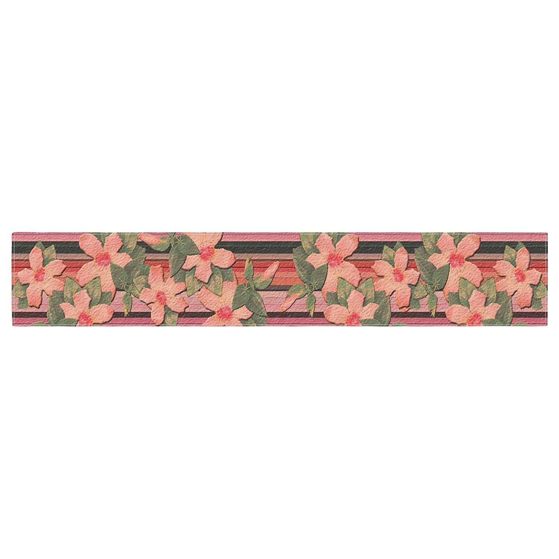 Pink Orange Kess InHouse Nina May Peach Hibiscus Stripe Throw Pillow 16 by 16