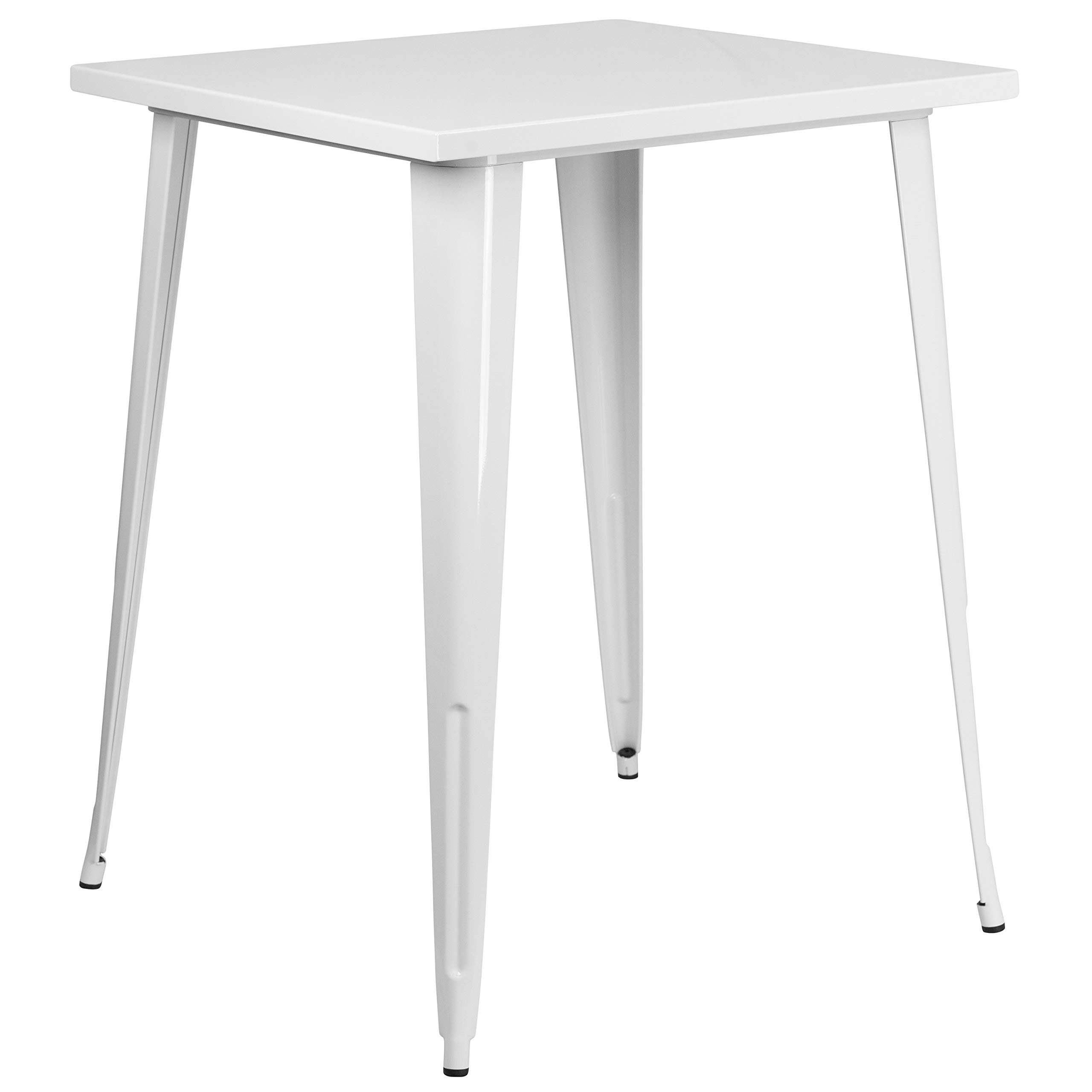 MFO 31.5'' Square White Metal Indoor-Outdoor Bar Height Table by My Friendly Office