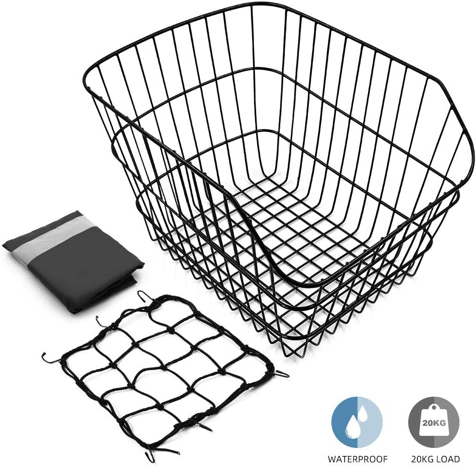 Hoobbii Rear Bike Basket, Waterproof Metal Wire Bicycle Basket with Adjustable Cargo Net and Waterproof Rainproof Cover Fits to Most Rear Bike Racks