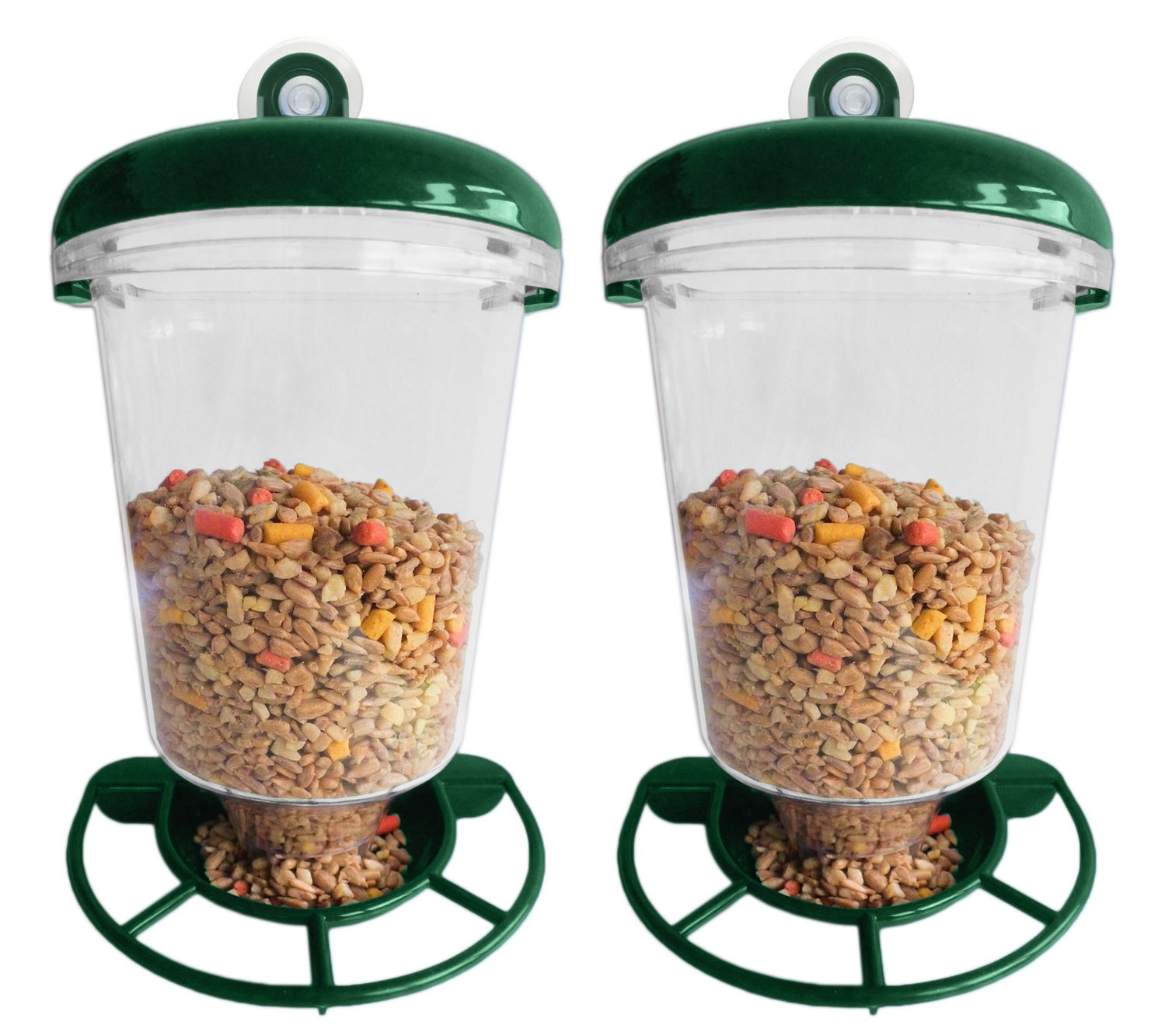 Set of 2 Premium Window Bird Feeders for Wild Birds - Outdoor Use Only - 7.5 x 5.9 x 4.1 - Holds One Pound of Birdseed!