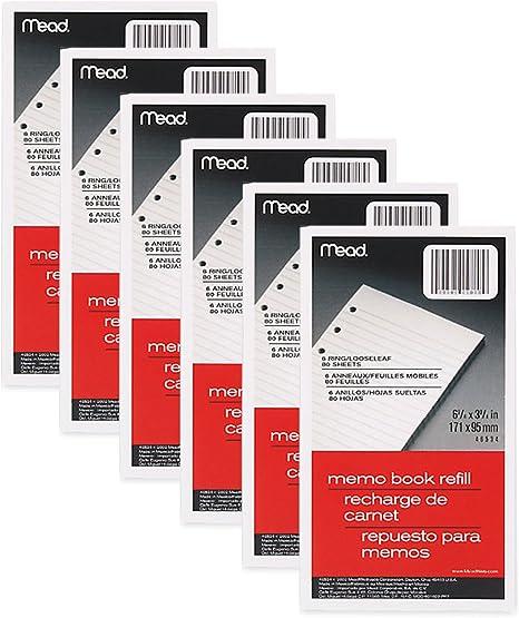 "Mead Memo Filler 5/"" X 3/"" 6 Ring 46530 6-Pack"