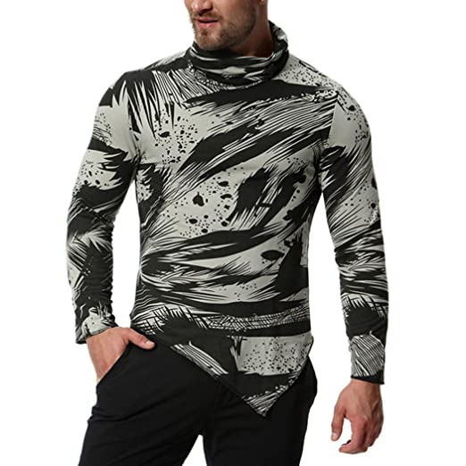 94a43f6501 Elogoog Men Apparel Mens Shirts Long Sleeves Turtleneck Blouse Irregular  Hem Fashion Printed Pullover at Amazon Men's Clothing store: