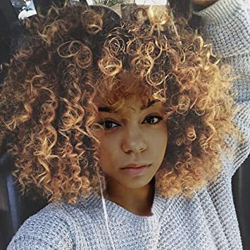 Women Blonde Short Curly Wig Synthetic Curly Wavy Hair Natural Medium Length Wig