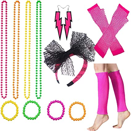 Women 80s Costume Accessories Set Includes Lace Headband Neon Earrings Necklace Fishnet Gloves Leg Warmers for 80s Party Supplies