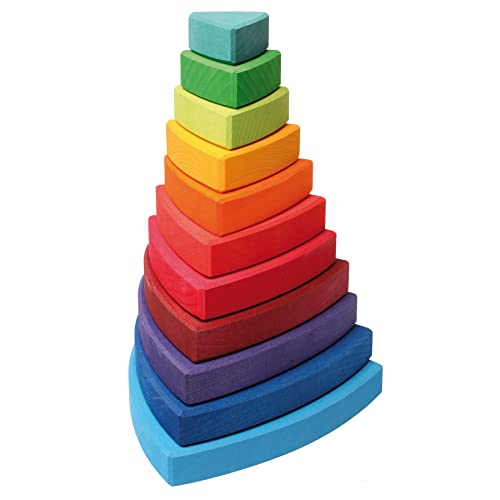 Grimm's Large Wooden Triangular Conical Tower (Wankel), 11-Piece Rainbow Colored Stacker, Made in Germany