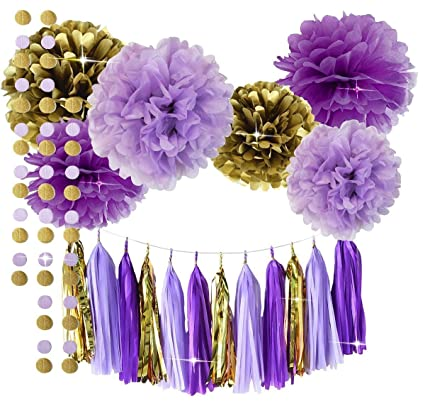 Amazoncom Qians Party Purple Lavender Glitter Gold Baby Shower