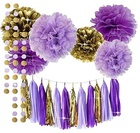 Qianu0027s Party Purple Lavender Glitter Gold Baby Shower Tissue Paper Pom Pom  Paper Tassel Garland First