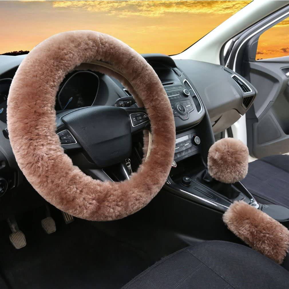 3Pcs Set Womens Winter Fashion Wool Fur Soft Furry Steering Wheel Covers Pink Fluffy Handbrake Cover Gear Shift Cover Fuzz Warm Non-slip Car Decoration Long Hair