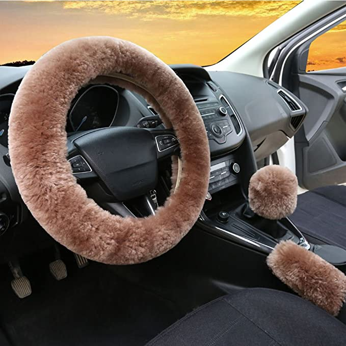 ixiton 3Pcs//Set Fashion Faux Wool Fur Furry Steering Wheel Cover,Short Hair Soft Fluffy Handbrake Cover,Gear Shift Cover,Universal Thickening Fuzzy Warm Non-Slip Auto Interior Automatic,Black