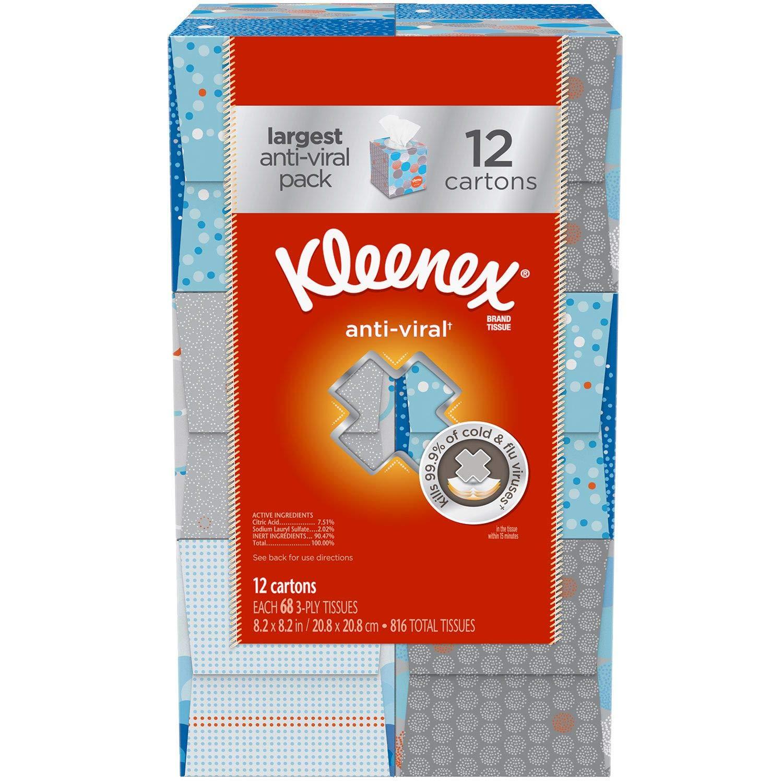 Kimberly-Clark Professional Kleenex Anti-Viral Facial Tissue Cube (Pack of 24)