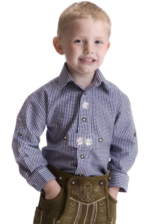 Ludwig und Therese Kinder Trachtenhemd Alexander blau/weiß 3303