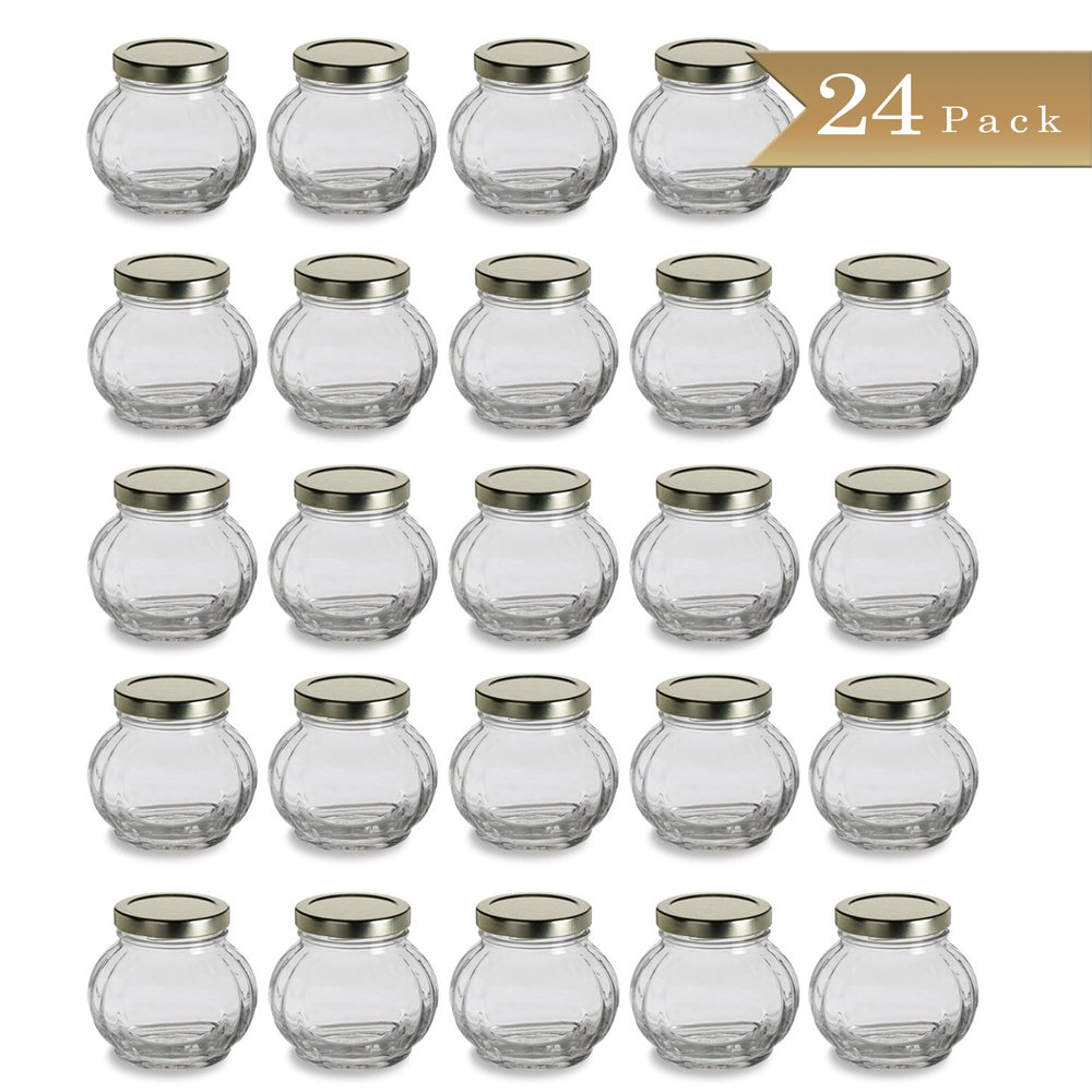 Set of 24 - TrueCraftware 8 oz Faceted Round Glass Jars with Gold Lid - Wedding Favors - Canning - Spice Jars - 225ml
