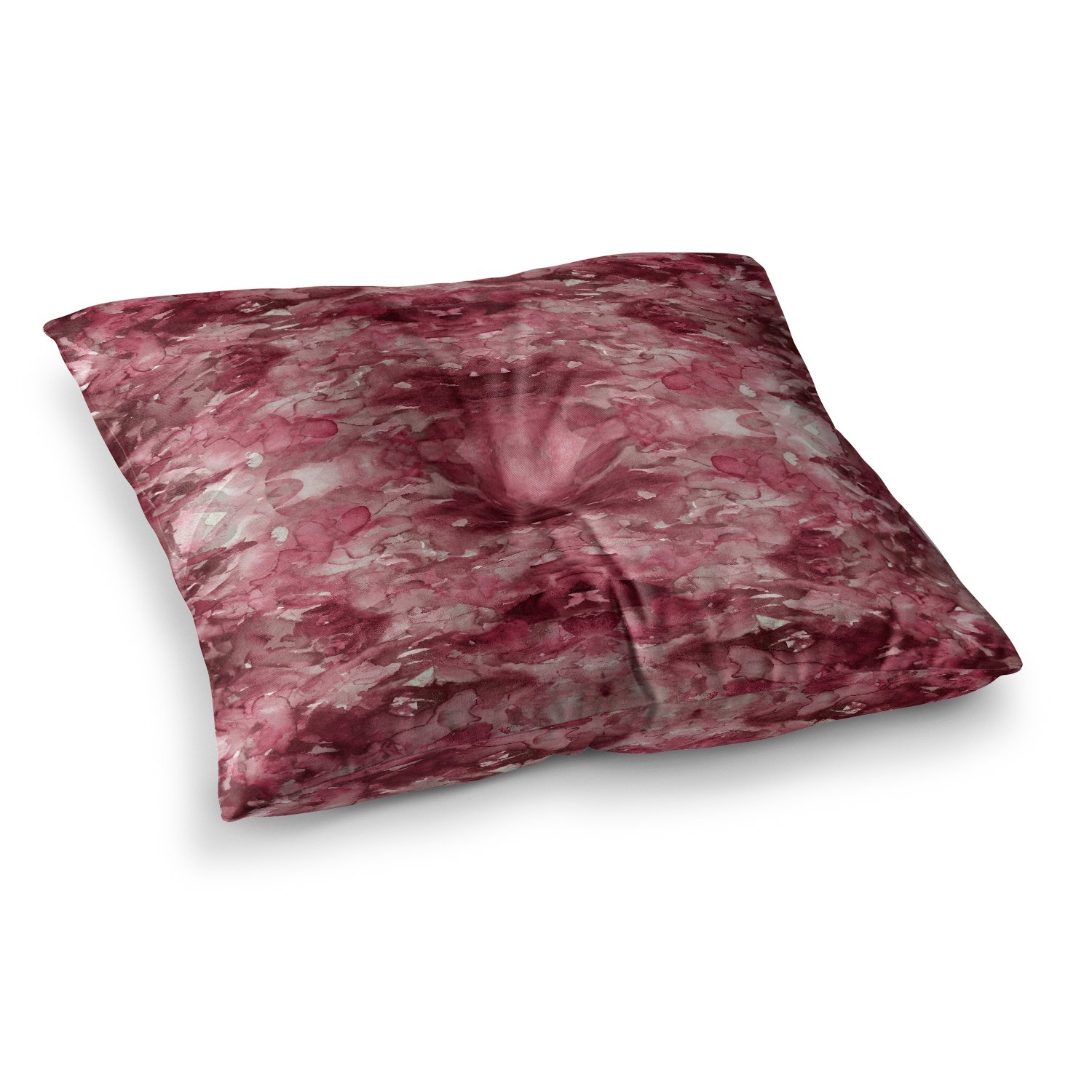 23 x 23 Square Floor Pillow Kess InHouse EBI Emporium Tie Dye Helix Red Burgundy Abstract