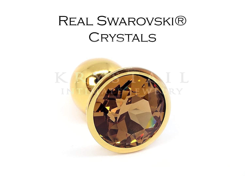 Rhinestone buttplug with Swarovski Light Colorado Topaz crystal, intimate jewelry sex toy for adult, anal accessory